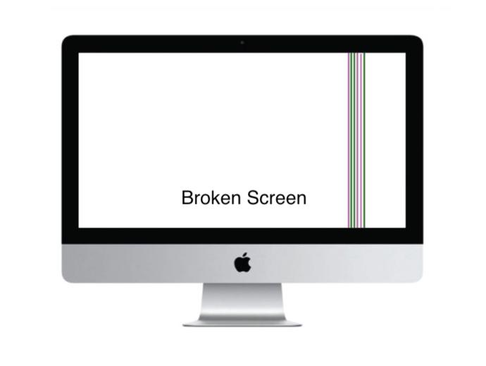Apple imac broken screen bleeding LCD